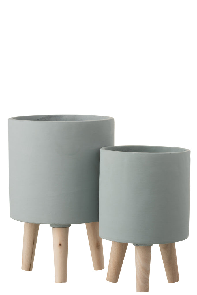 Flower pot on feet - Pale Grey Small