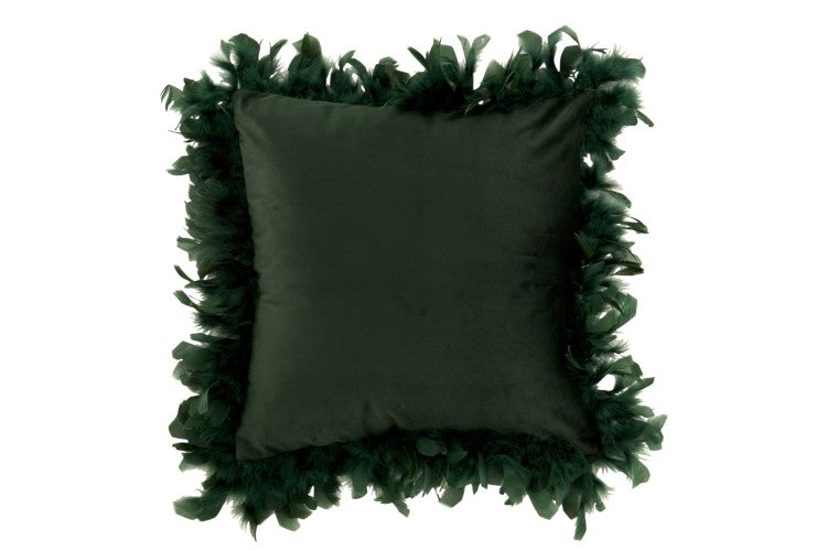 Dark Green Cushion with Feather Trim