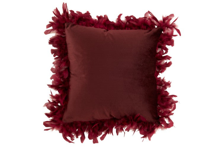 Maroon Cushion with Feather Trim