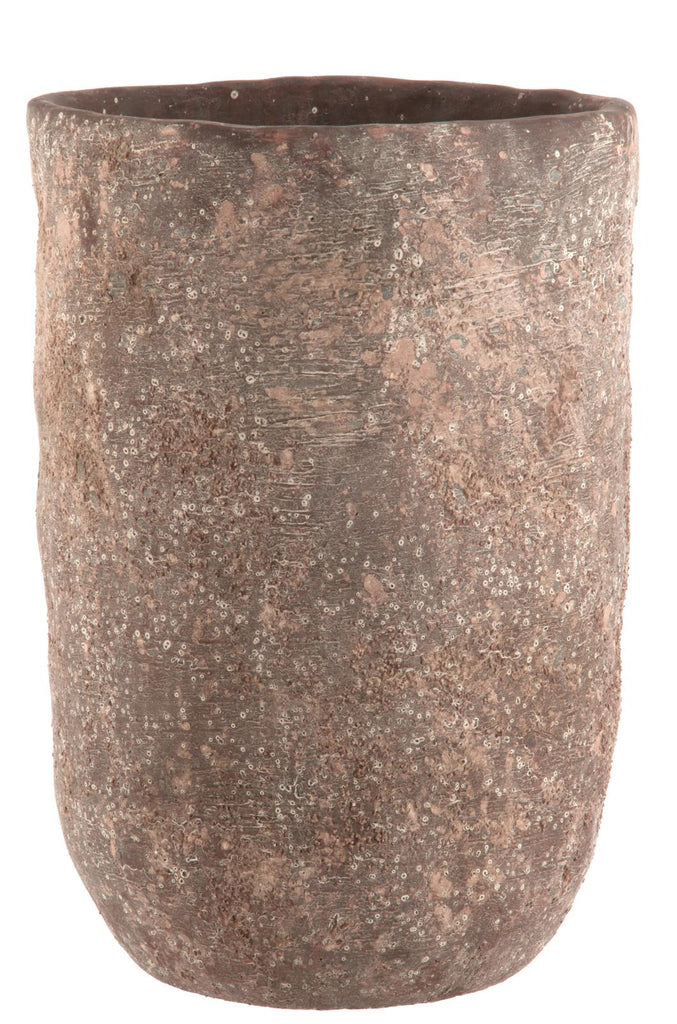 Large Brown Cement Vase
