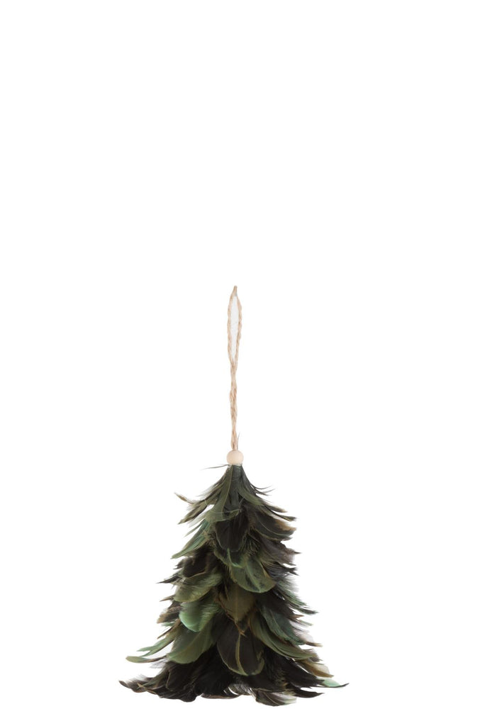 Hanging Feather Christmas Tree  - Green