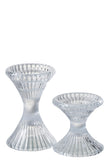 Ribbed Glass Candlestick - Tall