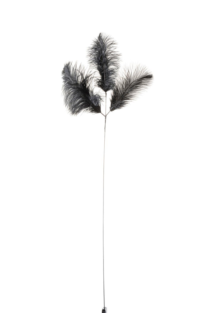 Plume of Three Ostrich Feathers in Black