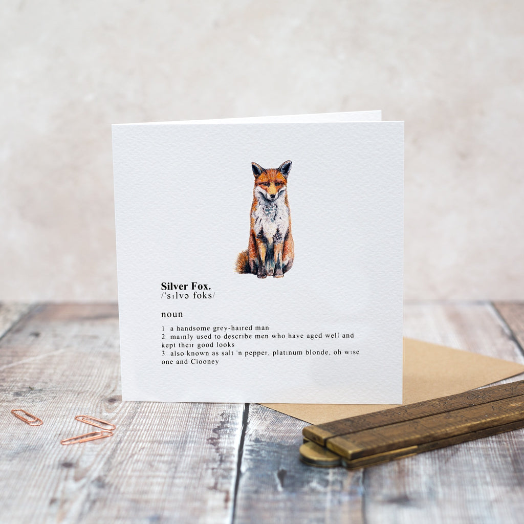 Silver Fox Greetings Card