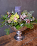 Frosted Winter Footed Bowl Arrangement