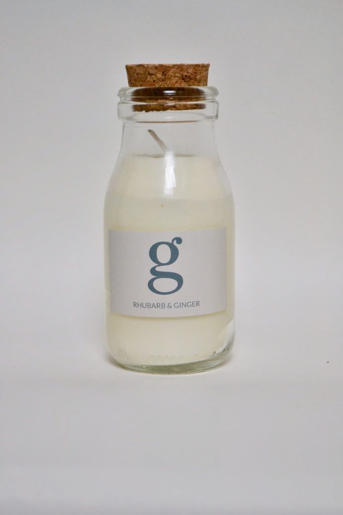 Milk Bottle Candle Rhubarb and Ginger