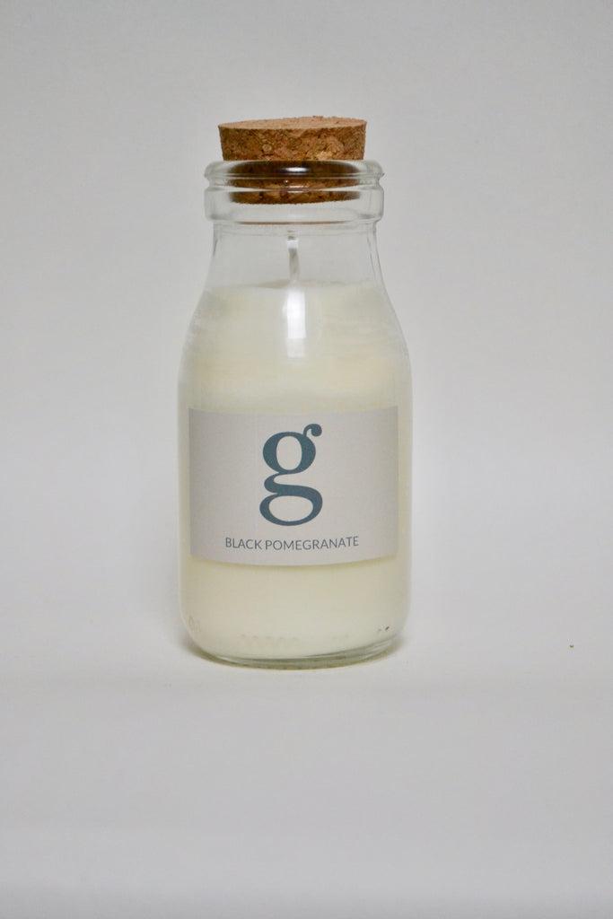Milk Bottle Candle Black Pomegranate