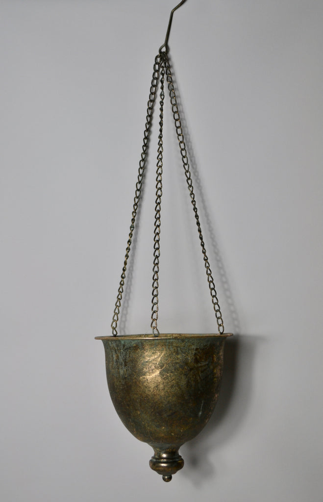 Hanging Antique Finish Brass Gold Urn