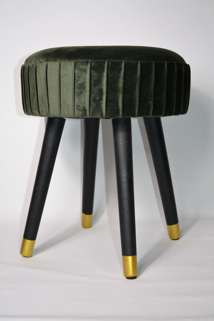 Velvet Foot Stool with Black Wooden Legs - Moss Green