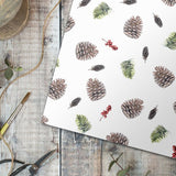Pine Cone on White Gift Wrap Single Sheet