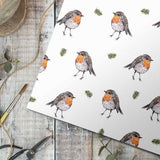 Robin on White Gift Wrap Single Sheet