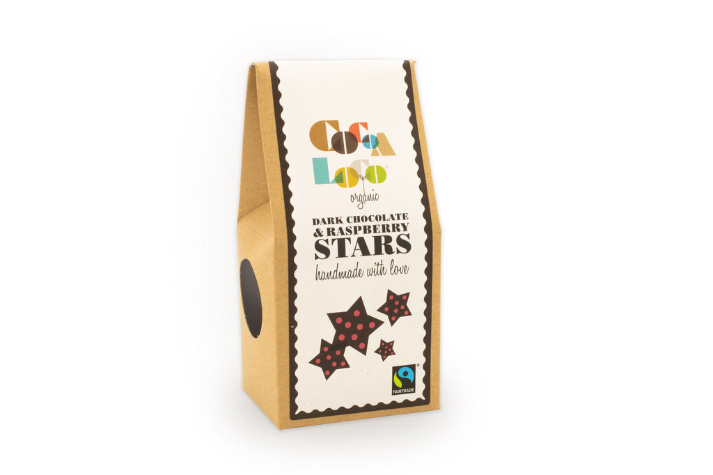Dark Chocolate and Raspberry Stars 100g box