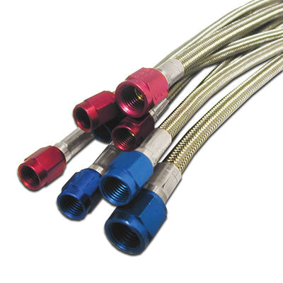 4AN (18IN) STAINLESS STEEL BRAIDED HOSE (RED ENDS)