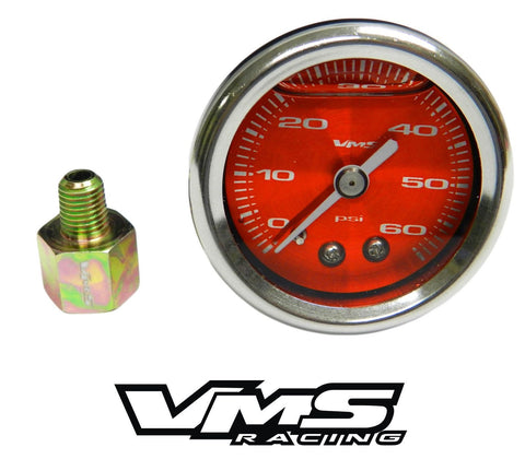 60 PSI Liquid Filled Fuel Pressure Gauge WITH Adapter 1/16 to 1/8 NPT adapter 86-95 Ford Mustang 5.0