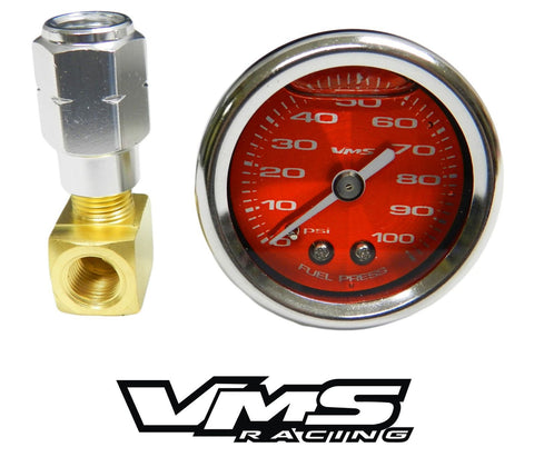 100 PSI Liquid Filled Fuel Pressure Gauge 0-100 PSI WITH Adapter for LS engines /LT1 (92-97) and L98 (TPI) CHEVROLET CHEVY CORVETTE CAMARO