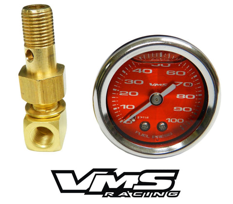 100 PSI Liquid Filled Fuel Pressure Gauge 0-100 PSI WITH Adapter for HONDA/ACURA engines