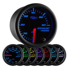 Black 7 Color 60 PSI Exhaust Pressure Gauge