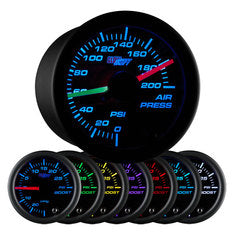 Black 7 Color Dual Needle Air Pressure Gauge