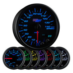 "Black 7 Color 3-3/4"" In-Dash Speedometer Gauge"
