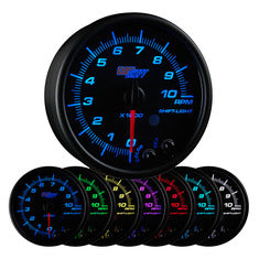 "Black 7 Color 3-3/4"" In-Dash Tachometer Gauge"