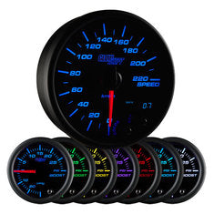 "Black 7 Color 3-3/4"" In-Dash Kilometer Speedometer Gauge"