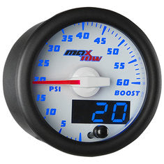 White & Blue MaxTow 60 PSI Boost Gauge