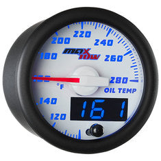White & Blue MaxTow Oil Temperature Gauge