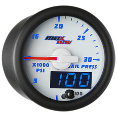 White & Blue MaxTow 30,000 PSI Fuel Rail Pressure Gauge