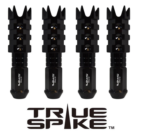 1/2-20 112MM LONG SPIKE MUZZLE BRAKE FORGED STEEL LUG NUTS WITH ANODIZED ALUMINUM CAP 46-17 JEEP CJ, TJ, WRANGLER 79-14 FORD MUSTANG // CAP: 20MM DIAMETER 73MM HEIGHT PART # LGC054