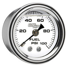 Liquid Filled White Mechanical Fuel Pressure Gauge