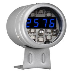 Silver & Blue LED Digital Tachometer with Shift Light