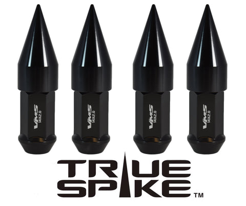 14X1.5 MM 89MM LONG CARS ONLY!! NO TRUCKS!! EXTENDED 2ND DESIGN SPIKE (25MM DIAMETER) STEEL LUG NUTS ANODIZED ALUMINUM CAPS // 25MM CAP DIAMETER 51MM CAP LENGTH PART NUMBER LGC021