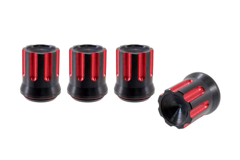 TUNER MACHINED CUTS LUG NUT CAPS CNC MACHINED BILLET ALUMINUM, BLACK AND RED OR BLACK AND SILVER // DIAMETER: 20MM LENGTH: 30MM PART # LGC055