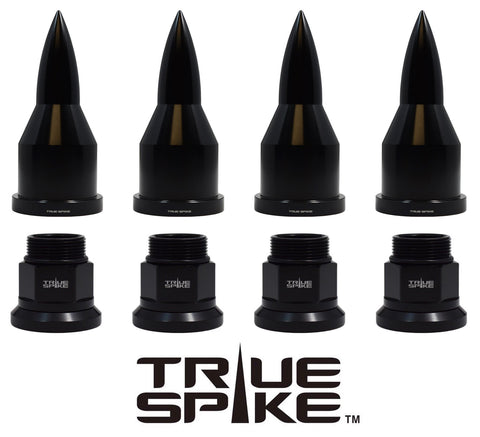 DUALLY SEMI TRUCK STEEL LUG NUTS WITH BILLET ALUMINUM 33MM BULLET CAP (40PC SET) // PART # LGC105BK oR LGC105SL