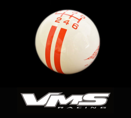VMS RACING RALLY STRIPE WITH FLAMING MUSTANG LOGO SHIFT KNOB 6 SPEED FOR 2015-2017 FORD MUSTANG FOCUS ST FIESTA ST with the recess for the reverse lockout
