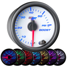 White 7 Color 60 PSI Boost Gauge