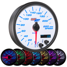"White 7 Color 3-3/4"" In-Dash Kilometer Speedometer Gauge"