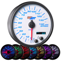 "White 7 Color 3-3/4"" In-Dash Speedometer Gauge"