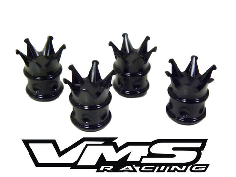 CROWN KING BILLET ALUMINUM AIR VALVE STEM CAP KIT AVAILABLE IN BLACK, CHROME, RED, BLUE, GOLD or PURPLE // PART # WVC007 WVC008