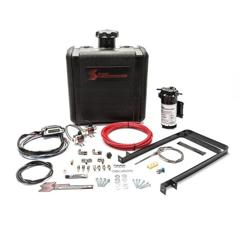 Diesel Stage 3 Boost Cooler Water-Methanol Injection Kit Ford 7.3/6.0/6.4/6.7 Powerstroke (Red High Temp Nylon Tubing, Quick-Connect Fittings)