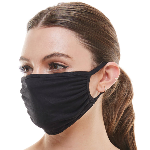Solid black washable reusable fabric face mask - Babseys