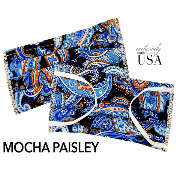 Immediate Delivery Face Mask Made in USA, 2-Ply Cotton - Mocha Paisley - Babseys