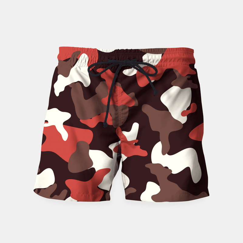 Red Camouflage Army Pattern Swim Shorts - Babseys