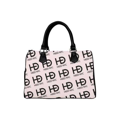 HEED NYC Classic Powder Pink & Black All Over Logo Boston Bag - HEED NYC