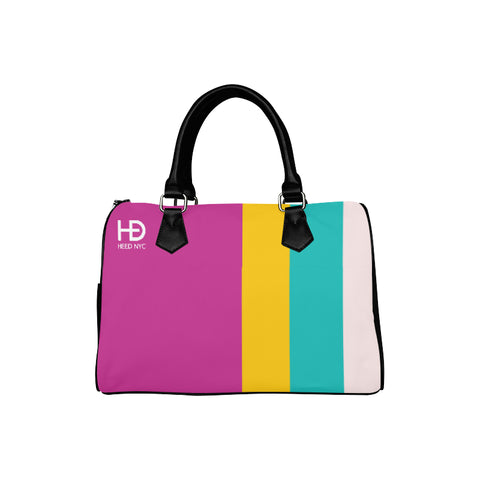 HEED NYC Classic Hot Pink & F20 Stripe Boston Bag