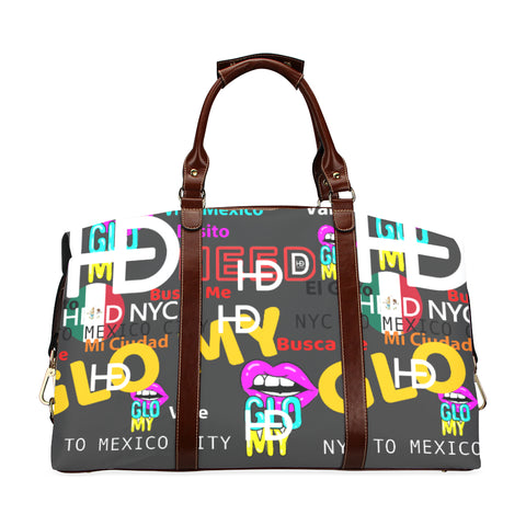 HEED NYC GLOMY NY2MX Drk gray / Hot Pink Traveler Duffle Bag Classic Travel Bag (Model 1643) Remake - HEED NYC