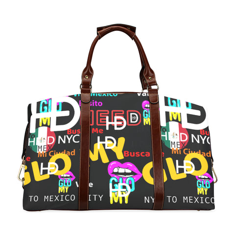 HEED NYC GLOMY NY2MX Blk / Hot Pink Traveler Duffle Bag Classic Travel Bag (Model 1643) Remake - HEED NYC