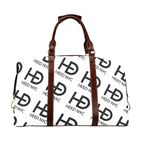 HEED NYC Classic White & Black All Over Logo Traveler Bag