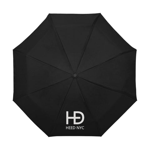 HEED NYC Black Umbrella Small White Logo - HEED NYC