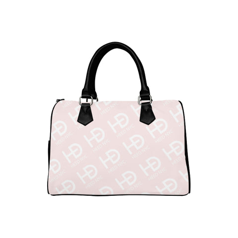 HEED NYC Classic Powder Pink & White All Over Logo Boston Bag - HEED NYC